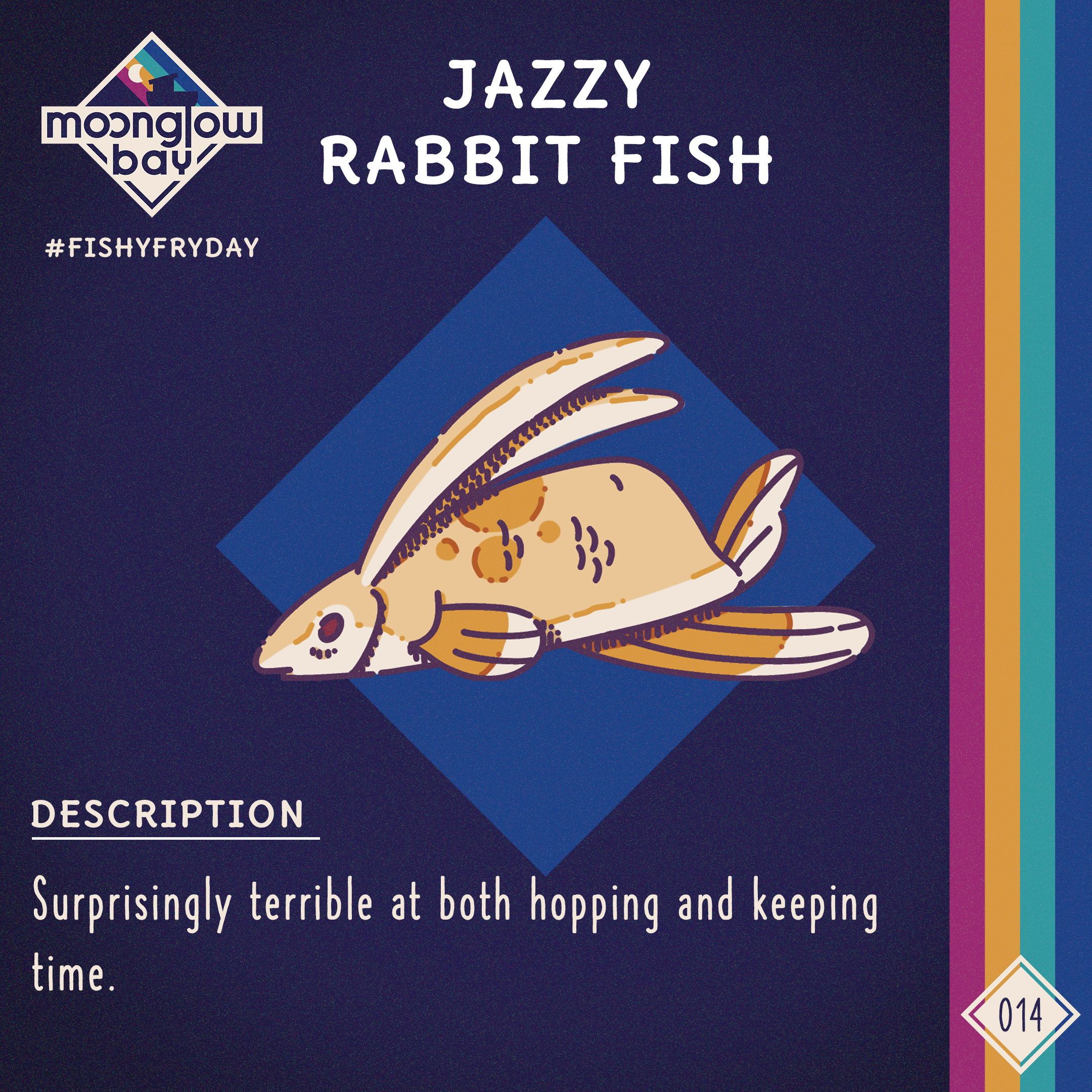 Side view of a Rabbit shaped like a fish with long ears and a large fin underneath. Also has side fins and one smaller fin instead of a tail