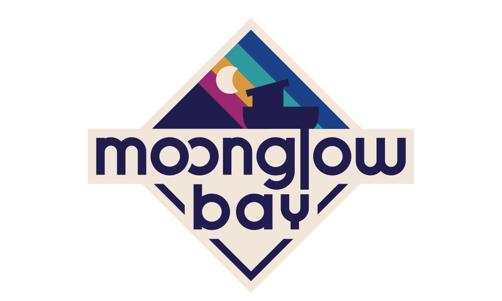 The Moonglow Bay logo, diamond shape with the name, a boat and moon symbol
